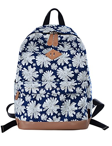 Douguyan Vintage Segeltuch Rucksäcke Junge Damen Mädchen Canvas Schulrucksack Blumen Schulranzen School Backpack Girl Women Retro Schultasche Studenten Rucksack Travel Daypack 133 Chrysantheme Muster