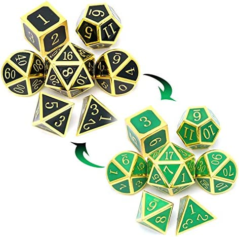 Haxtec Color Changing Temperature Metal DND Dice Set Heat Sensitive Polyhedral D D Dices for product image
