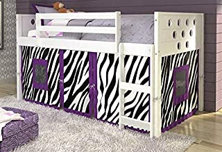 Donco Kids 79 in. Twin Circles Low Loft Bed - Zebra Tent , White