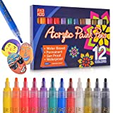Paint Pens Acrylic Markers (12 Colors) | For Rock Painting, Glass, Wood, Porcelain, Ceramic, Fabric, Paper, Mugs, Calligraphy and More | Medium Tip | Unique Arts and Crafts