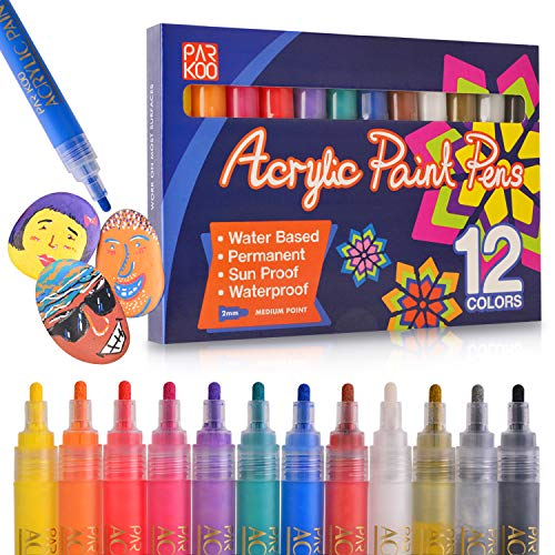 Paint Pens, ParKoo Acrylic Markers (12 Colors) | For Rock Painting, Glass, Wood, Porcelain, Ceramic, Fabric, Paper, Mugs, Calligraphy and More | Medium Tip | Unique Arts and Crafts