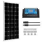 SUNGOLDPOWER 100W 12V paneles solares monocristalino módulo solares +Controlador Carga Panel Solar 20A+ Cable de extension solar MC4+Z Soporte de Montaje kit