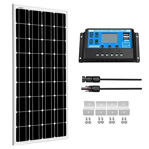 SUNGOLDPOWER 100Watt 12V Monocrystalline Solar Panel Solar Module Kit:1pcs 100W Mono Solar Panel+20A LCD PWM Charge Controller Solar+Solar Panel Connector Extension Cables+Set of Z-Brackets