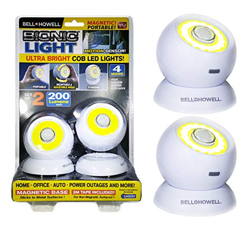 Bell and Howell Bionic Light Motion-Sensing, Portable Security Lights, Powerful, Super Bright COB LED Bulbs, Magnetic and Adjustable Angle in 4 Modes As Seen On TV (Set of 2)