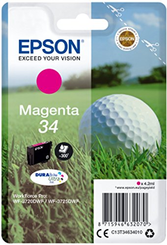 Epson Original 34 Tinte Golfball (WF-3720DWF WF-3725DWF, Amazon Dash Replenishment) magenta