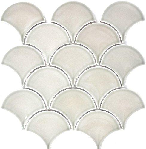 Mosaik Fliese Keramik grau Fächer steingrau glänzend für WAND BAD WC DUSCHE KÜCHE FLIESENSPIEGEL THEKENVERKLEIDUNG BADEWANNENVERKLEIDUNG Mosaikmatte Mosaikplatte
