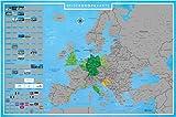 blupalu I XXL Europakarte zum Rubbeln I Silber I mit Länder-Flaggen I Rubbel-Chip I Landkarte zum Freirubbeln I 89 x 59 cm | Deutsch