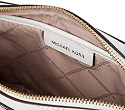 Michael Kors Jet Set Travel Large Ew Crossbody Saffiano Leather 18K, Color Optic White
