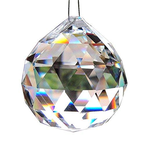 MINGZE 60 Millimetri Grande Chiaro Bicchiere Palla di Cristallo Pendente del Prisma, Arcobaleno Sfera di cristallov Appendere Decorazione, Parti di Cristallo del candeliere, Decorazione di Nozze