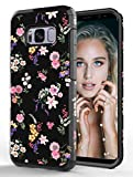 ShinyMax Galaxy S8 Case with Flowers Design,Samsung S8 Phone Case,Hybrid Dual Layer Armor Protective Cover Cute Flexible Sturdy Anti-Scratch Shockproof Bumper Case for Women and Girls-Floral/Black