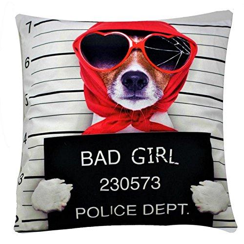 Bullahshah 'Bad Girl' Posiert Prisoner Hund Chenille Baumwolle 17 x 17 Zoll Kissenbezug Kissenbezug für Schlafsofa Couch