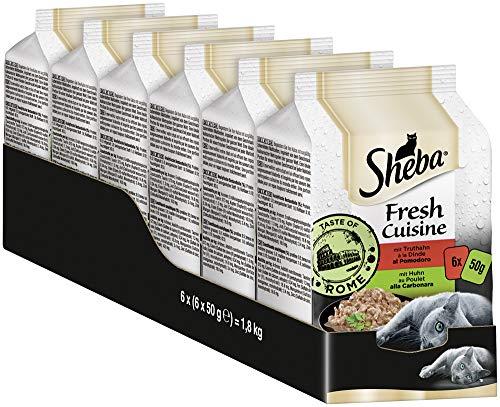 Sheba Fresh Cuisine – Nassfutter für Katzen – Für die tägliche Abwechslung im extra kleinen Portionsbeutel – 36 x 50g