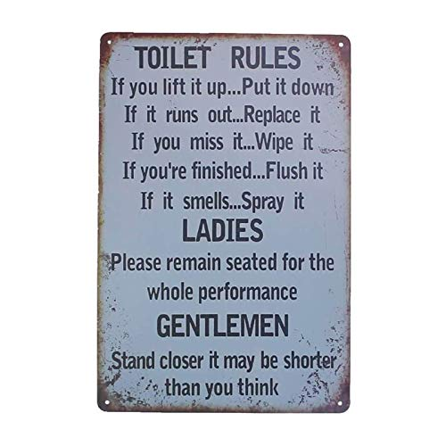 Orgrimmar Metal Tin Sign Toilet Rules Warning Sign Bar Cafe Garage Wall Decor Retro Vintage (Toilet Rules)