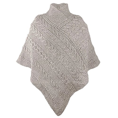 100 % Merinowolle Aran Crafts Damen Strick-Poncho Pastinake