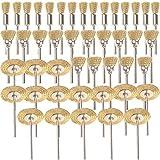 Shina 45pièces laiton brosses brosses brosse métallique fil de Dremel Proxxon Kit de polissage acier Brosses Disques de Polissage Brosse brosse ronde tige à disque Ø 3,17mm