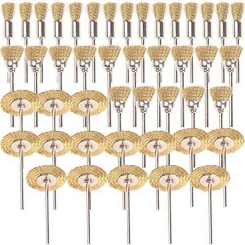 Shina 45 pièces laiton brosses brosses brosse métallique fil de Dremel Proxxon Kit de polissage acier Brosses Disques de Polissage Brosse brosse ronde tige à disque Ø 3,17 mm