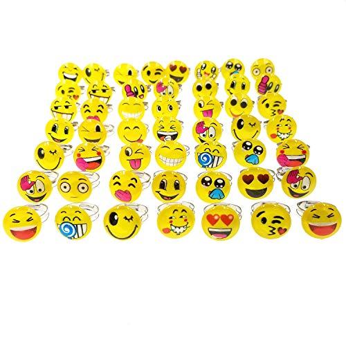 JZK 50 Einstellbar Emoji Kinderringe, Party Ringe für Kinder Kindergeburtstag Party Geschenk Party Dekoration Party Mitgebsel