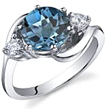 Peora 3 Stone Design 2.25 carats London Blue Topaz Ring in Sterling Silver Size 6