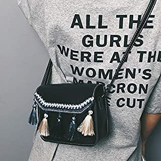 Fashion Single-Shoulder Bags Tassel Single Shoulder Bag Ladies Handbag Messenger Bag (Black) (Color : Black)