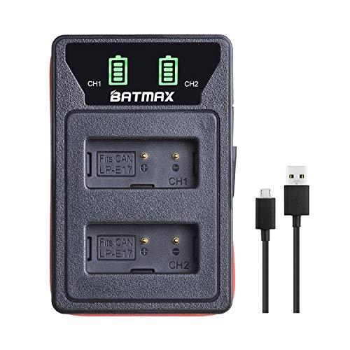 Batmax Rapid LP-E17 LCD Dual Built-in Caricabatteria USB per Canon LP-E17; Canon EOS Rebel T6i, Rebel T6s, Rebel T7i, 750D, 760D, 8000D, Kiss X8i, 800D, 77D, 200D, EOS SL2