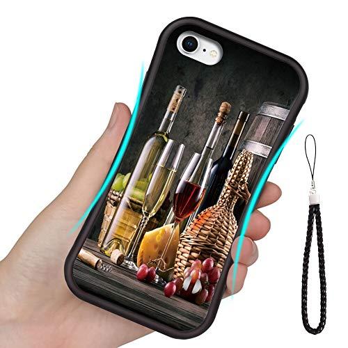 Carcasa de TPU compatible con Apple iPhone 6 Plus (2014) y iPhone 6s Plus (2015) (5.5 pulgadas) todavía sobre el tema del vino en mesa de madera con fondo oscuro.