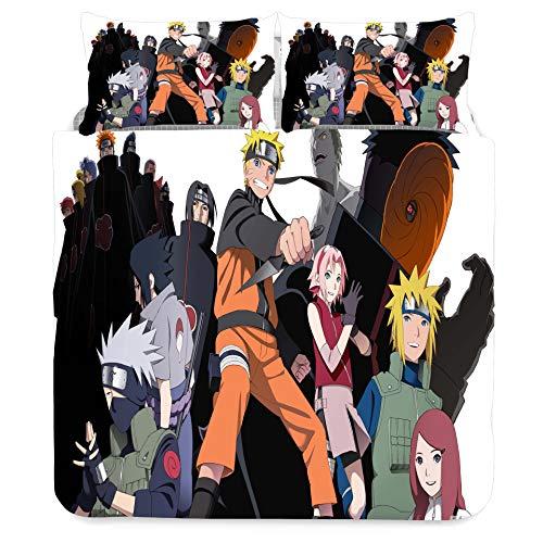 Jiaxiin Naruto - Character Group Photo Juego de Funda nórdica para Ropa de Cama 3 Piezas Funda de edredón Funda de Almohada de algodón (EU-King)