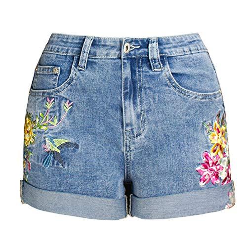 Pantalones Cortos de Mezclilla para Mujer Pantalones Cortos elásticos de Pierna Ancha de Gran tamaño Europeos y Americanos Pantalones Cortos de Mezclilla con Flores Bordadas de Moda 3D XL