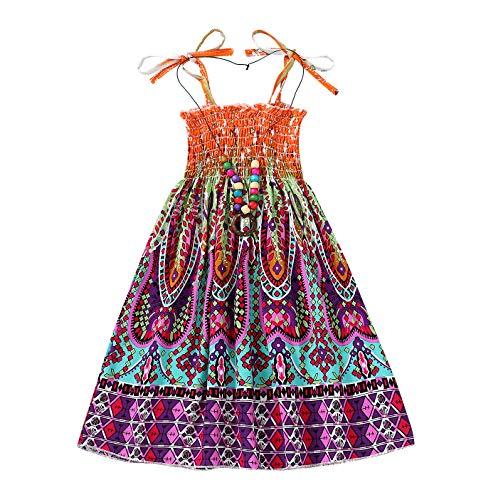 Baby Girls Rainbow Dress Toddler Princess Sleeveless Halter Beach Tutu Sundress