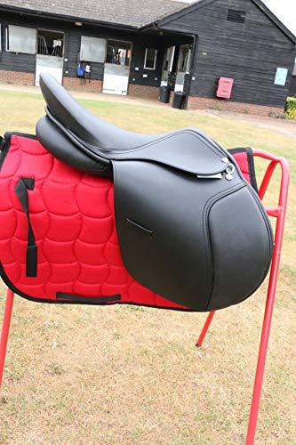 EW Sillín de cuero para saltar, diseño de caballo inglés, 44,5 cm, 47 cm, color negro