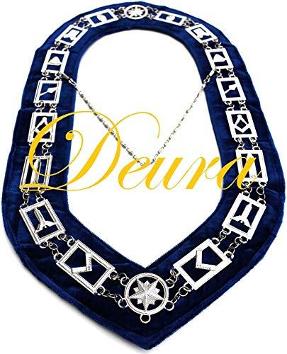 DEURA Masonic Blue Lodge Working Tools Chain Collar Silver Plated Dark Blue Velvet Backing