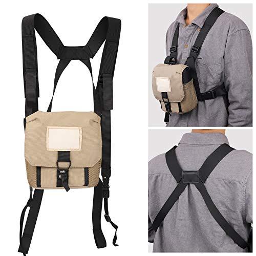 Funda universal para prismáticos de caza con arnés cómodo, bolsa protectora portátil con 3 bolsillos útiles para observar aves de viaje.