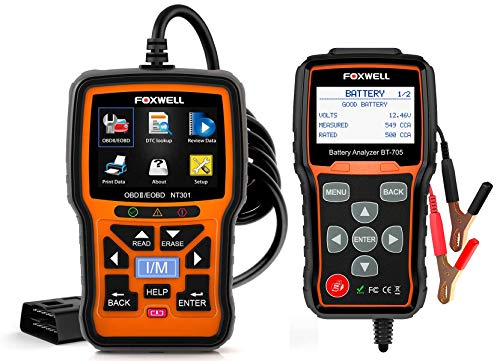 FOXWELL NT301 OBD2 Reader and FOXWELL BT705 12V 24V Auto Battery Tester