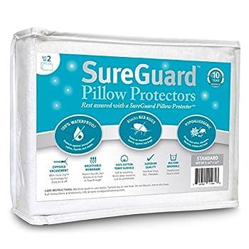 Set of 2 Standard Size SureGuard Pillow Protectors - 100% Waterproof Bed Bug Proof Hypoallergenic - Premium Zippered Cotton Terry Covers
