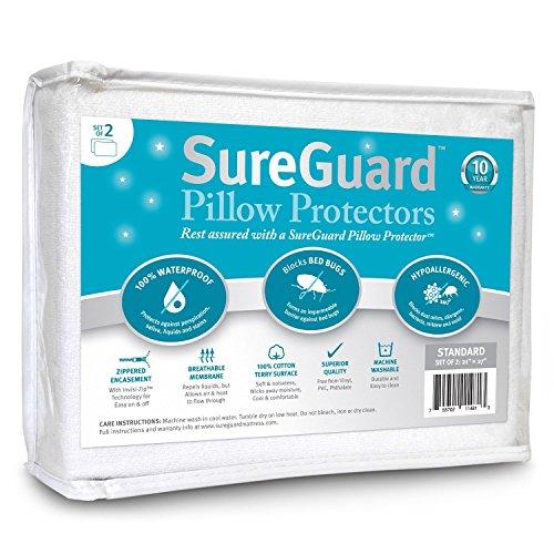 Set of 2 Standard Size SureGuard Pillow Protectors - 100% Waterproof, Bed Bug Proof, Hypoallergenic - Premium Zippered Cotton Terry Covers