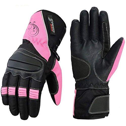 Speed Maxx Damen-Handschuhe für Motorrad/Motorrad/Motocross, Textil, Größe L, Pink