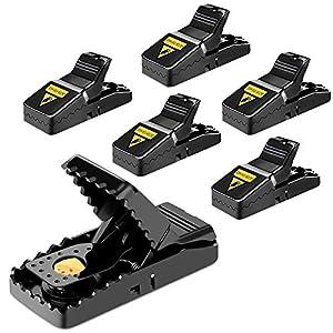 DIWUJI Trampa Ratones, Trampa para Ratas Reutilizable, Set de 6 Mouse Trap Alta Sensibilidad Respuesta Efectivo Rápida Seguro, Trampa Fácil de Establecer Control Ratoneras