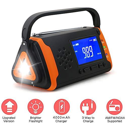 B&H-ERX 5-In-1-Notfall-Solarradio, 4000-Mah-Powerbank-Telefonladegerät/LED-Taschenlampe/SOS-Alarm/Musik-Player/Handkurbel-Dynamo Für Survival-Camping-Wandern