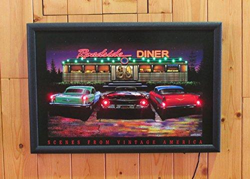 LED ネオンピクチャーLサイズ 【 Roadside DINER 】 NEON PICTURE LEDパネル アメリカ雑貨