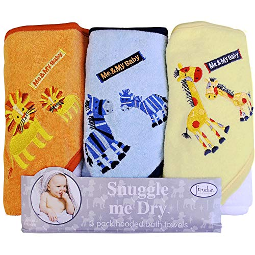 Frenchie Mini Couture, Hooded Bath Towels for Babies, 80% Cotton/20% Polyester, Animal Baby Bath Towel Set, Pack of 3
