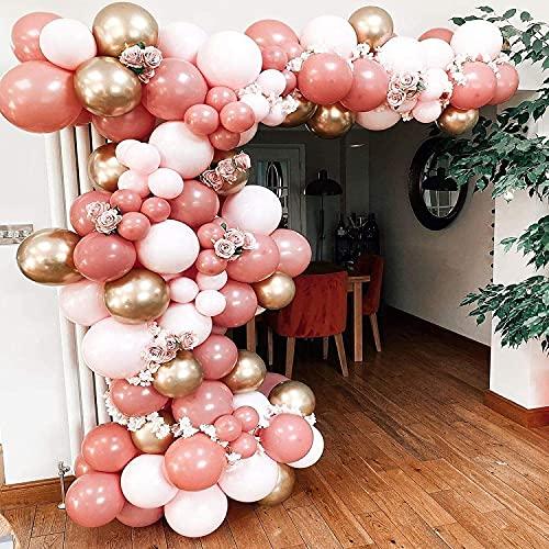 Rosok 122 Pcs Stile Retrò Palloncino Rosa Partito Arco Set per Festa Di Compleanno, Festa Di Fidanzamento, Festa Di Laurea, Matrimonio, Festa Aziendale, Attività per Feste All'aperto, San Valentino