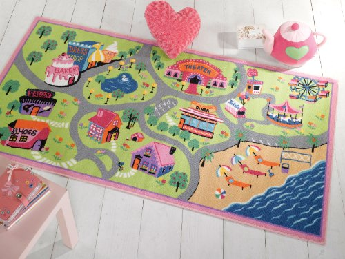 Kiddy Girls World Play Mat Washable Hardwear Kids Children Rug in 100 x 190 cm (3'3 x 6'3) Carpet by Lord of Rugs