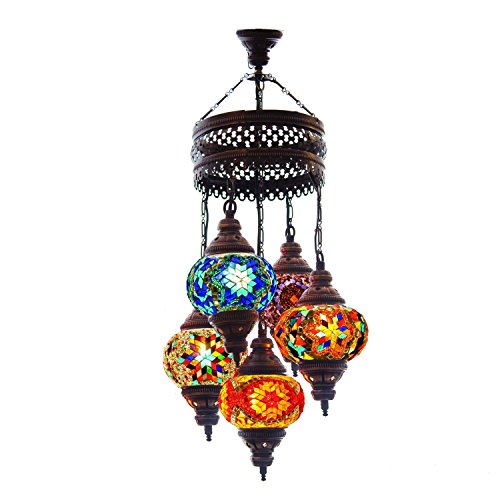 Turkish Authentic 5 Globe Mosaic Chandelier Mosaic Lamp Moroccan Lantern