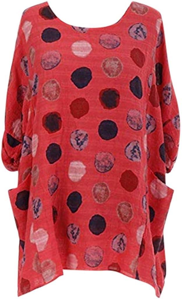 Women Fashion Plus Size Print Shirt Ranking TOP18 Casual Sleeve Long O-Neck Loose Cott