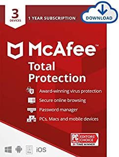 McAfee Total Protection 2021, 3 Device Antivirus Internet Security Software, Password Manager, Privacy, 1 Year - Download Code (B07BFS3G7P) | Amazon price tracker / tracking, Amazon price history charts, Amazon price watches, Amazon price drop alerts