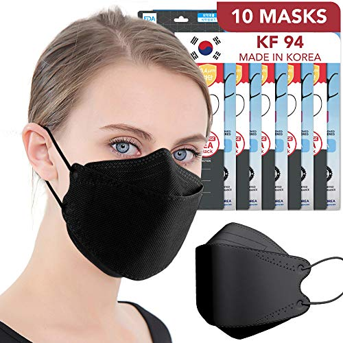 Black Disposable Face Mask KF94 4-Layer Filters Breathable Comfortable Protection Safety Nose clips Dust Mask for Men Women Kids [10 PCS]