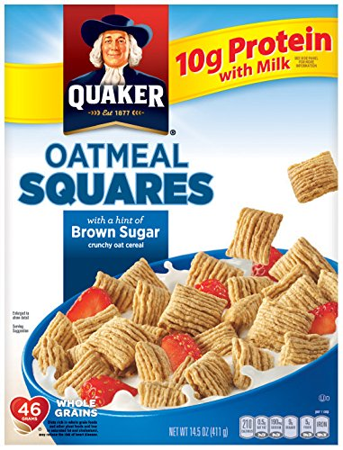 Quaker Oatmeal Squares, Brown Sugar, Crunchy Oat Breakfast Cereal, 14.5oz Box