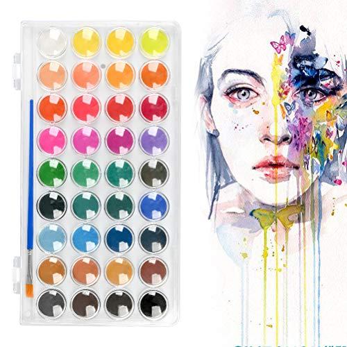 TIMESETL Juegos de Pintura para Niños, 36 Colores Estuche de Acuarelas y Pincel Portátil Pinturas Solubles en Agua, Pinturas de Acuarela para Profesionales y Principiantes