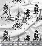Soimoi Weiß Baumwoll-Voile Stoff Fahrrad & Eiffelturm