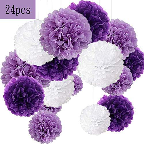 24er Set Pompoms Deko Bunt Seidenpapier Pompons für Hochzeit, Geburtstag, Party Violett Weiß (6pcs*30.5cm/9pcs*25cm/9pcs*15.5cm)