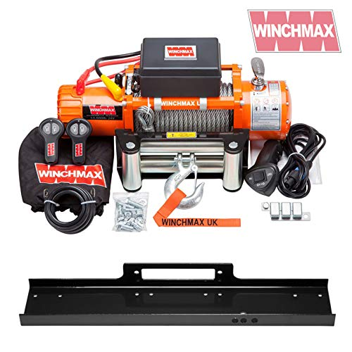 Winchmax 13,500lb (6,123kg) Original Naranja 24v Cabrestante eléctrico, cuerda de acero, placa de montaje de cama plana